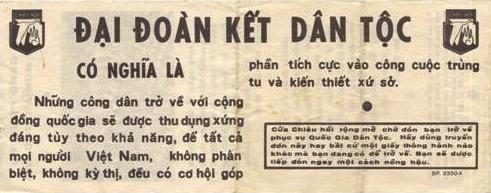 Vietnam War: Dai Doan Ket - National Reconciliation Program