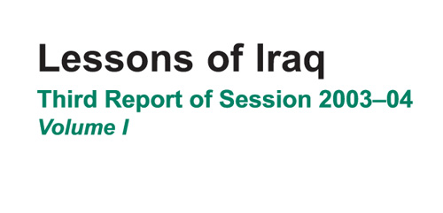 UK House of Commons Defence Committe - Lesson of Iraq - Information Operations