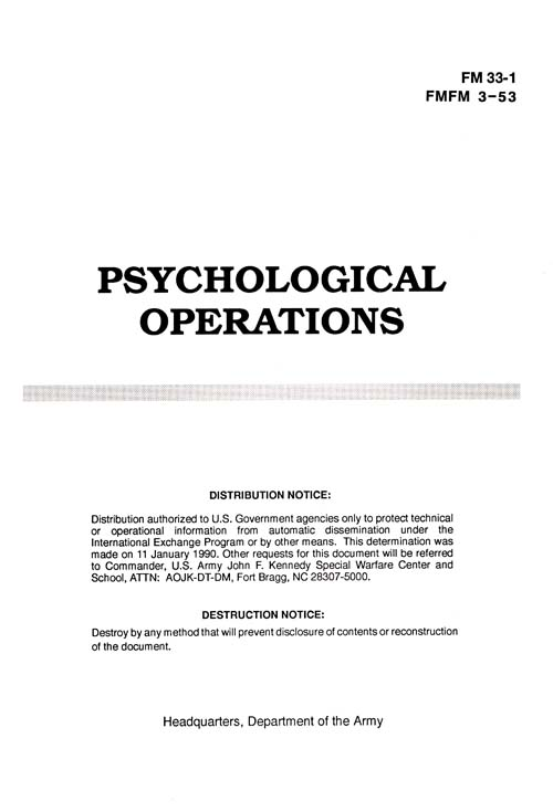 FM 33-1 Psychological Operations - February 1993