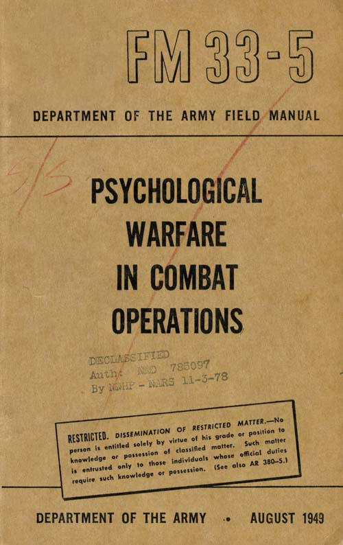 FM 33-5 PSYCHOLOGICAL WARFARE IN COMBAT OPERATIONS, US Army Field Manual, August 1949