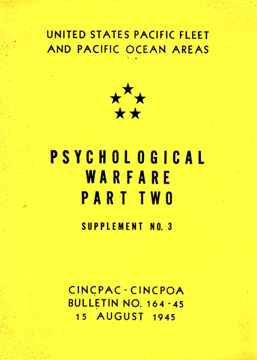 Psychological Warfare PART 2, Supplement No. 3 - 15 August 1945