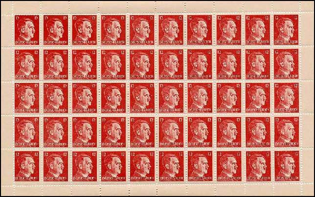 Sheet of 12 Pfennig forged stamps