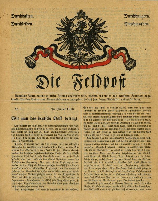 The French Facsimile of the German Newspaper Field Post - Number 9, January 1916