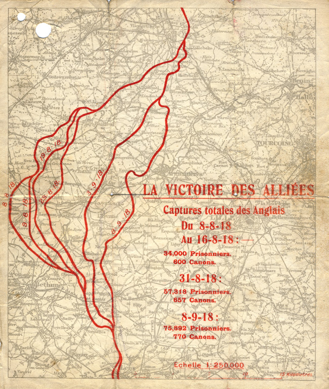 Random PSYOP leaflet - THE VICTORY OF THE ALLIES Progress Map, 8-9-18