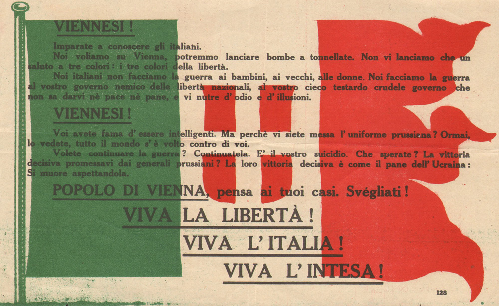 Random PSYOP leaflet - CITIZENS OF VIENNA! Learn to know the italians