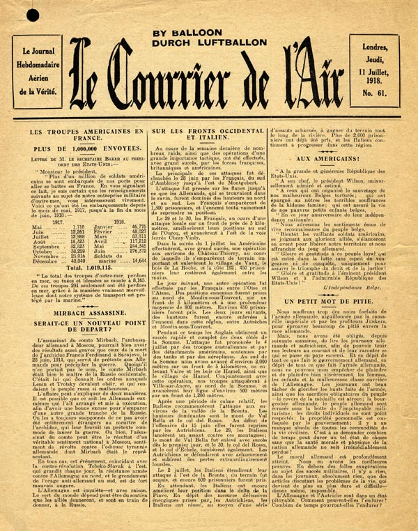 Le Courrier de l'Air, 1917-1918