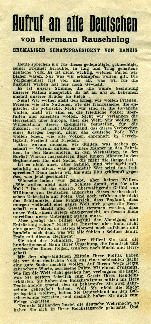 Random PSYOP leaflet - A Call to all Germans by Hermann Rauschning