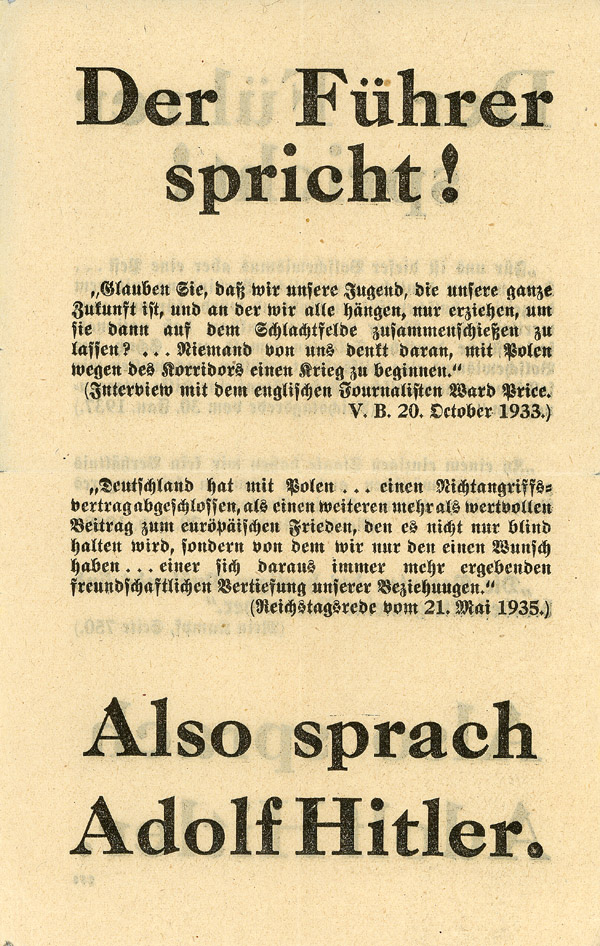 Random PSYOP leaflet - The Führer Speaks