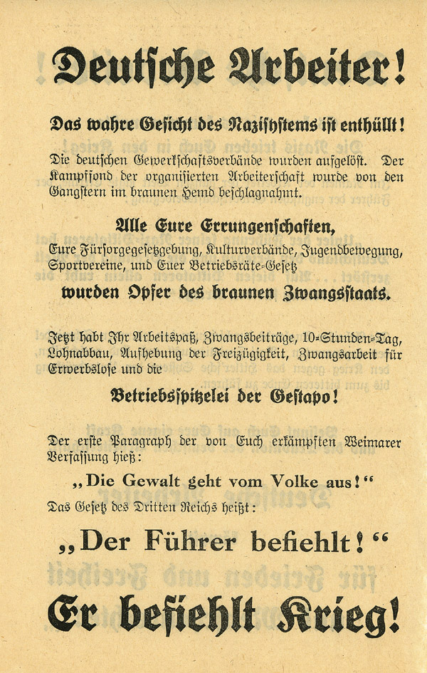 Random PSYOP leaflet - German Workers!