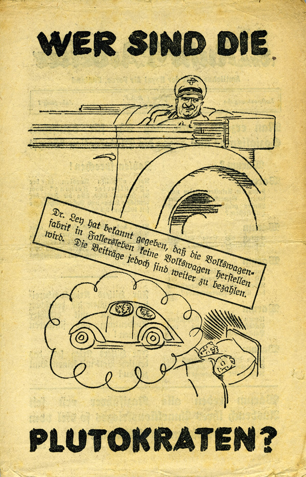 Random PSYOP leaflet - Workers In The Ruhr / WHO ARE THE PLUTOCRATS? (People's Car)