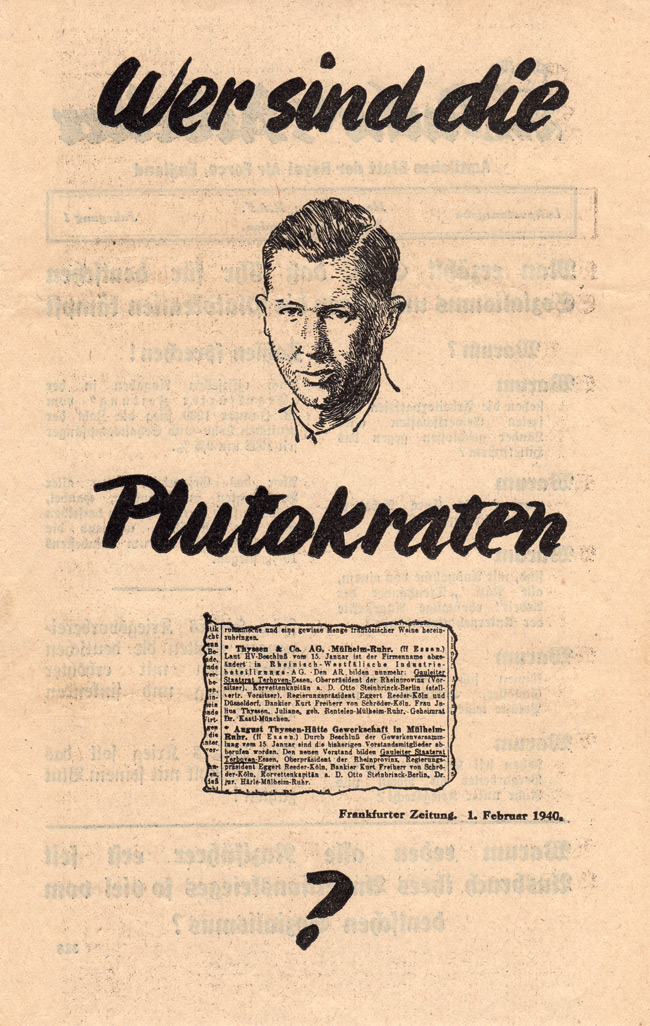 Random PSYOP leaflet - Workers In The Ruhr / WHO ARE THE PLUTOCRATS? (Newspaper clipping)