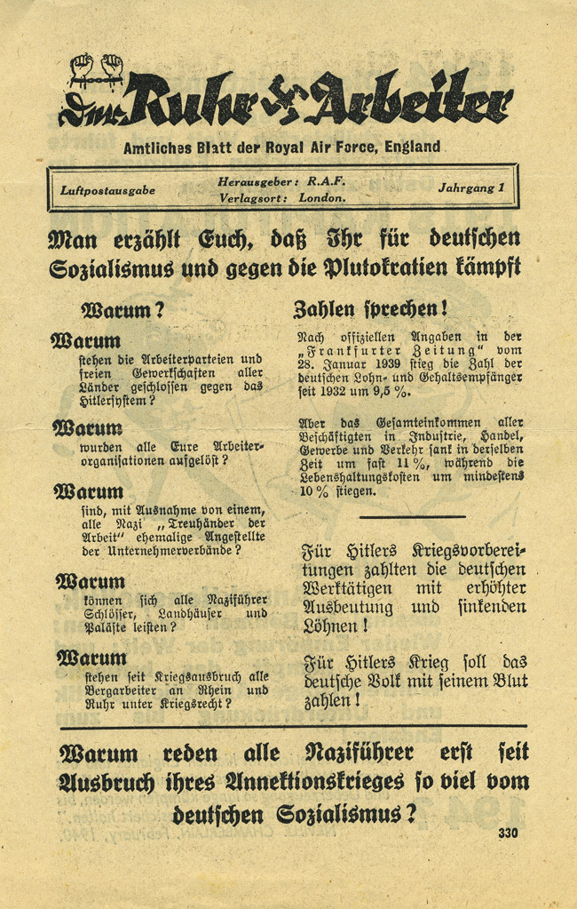 Random PSYOP leaflet - Workers In The Ruhr / 1914 The Annexation policy