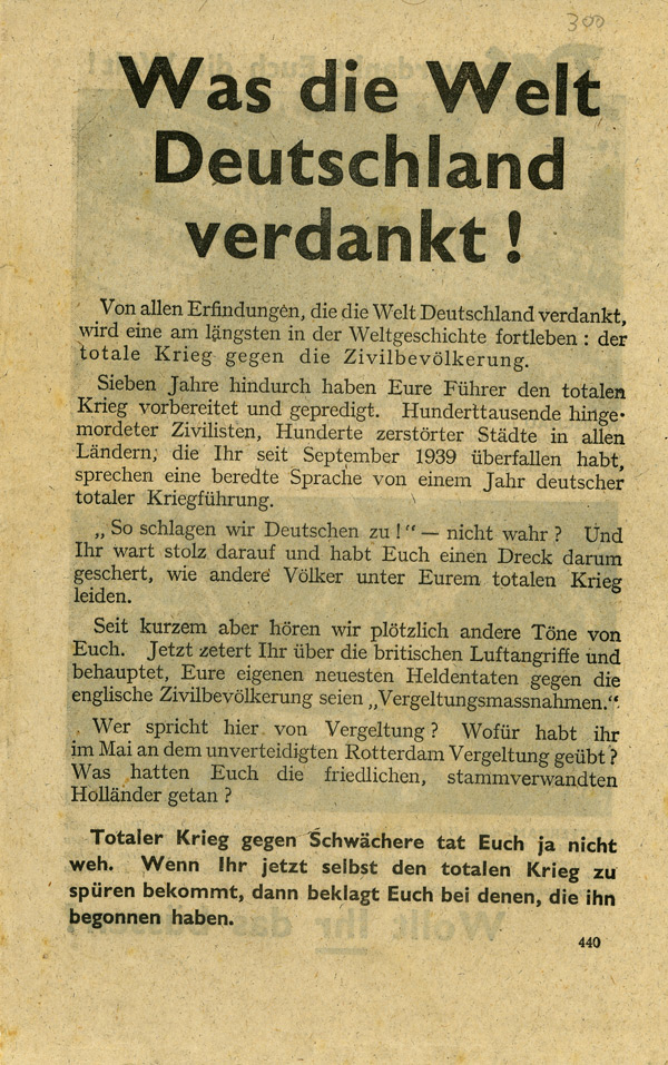 Random PSYOP leaflet - What the World Owes Germany