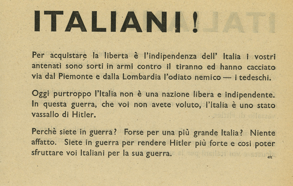 British to Italians, EH/SO1, 1940-41