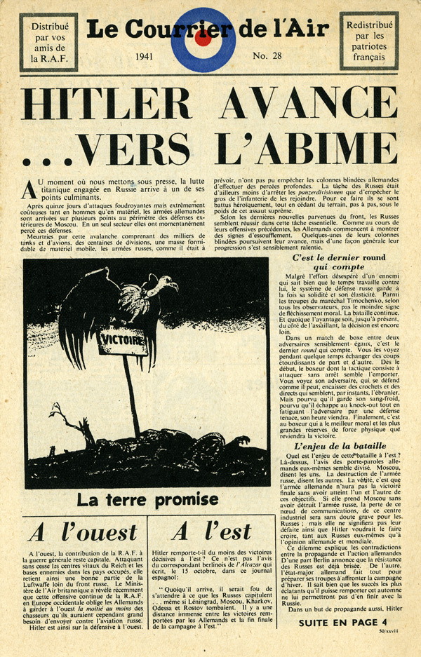 Random PSYOP leaflet - Le Courrier de l'Air, No. 28