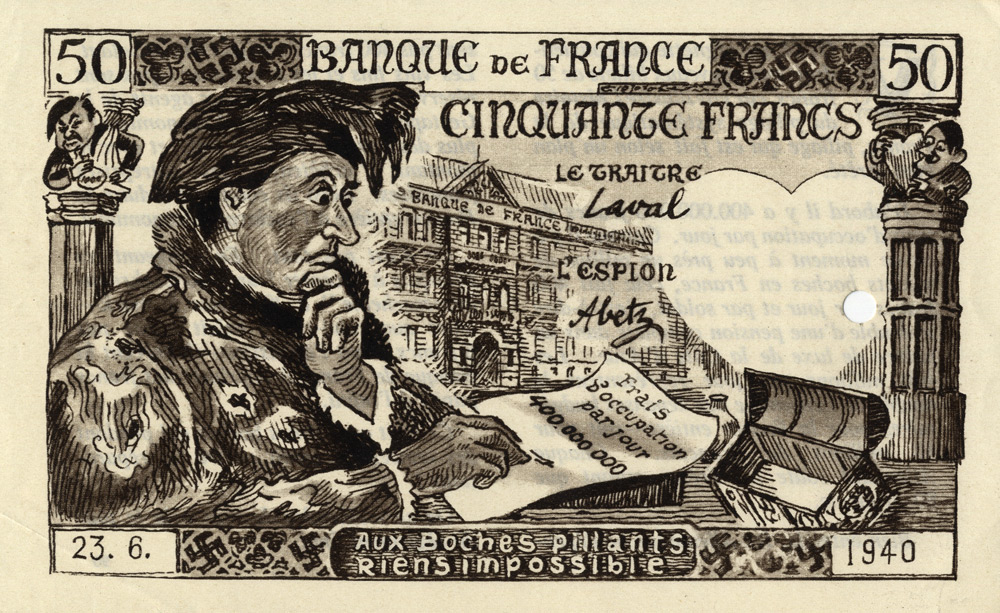 Random PSYOP leaflet - Bank of France Fifty Francs