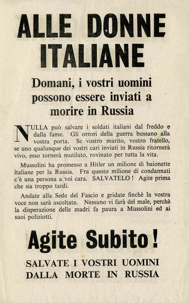 Random PSYOP leaflet - TO THE WOMEN OF ITALY
