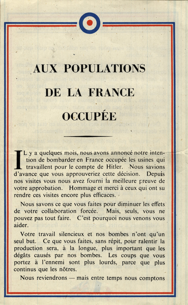 Random PSYOP leaflet - TO THE POPULATION OF OCCUPIED FRANCE