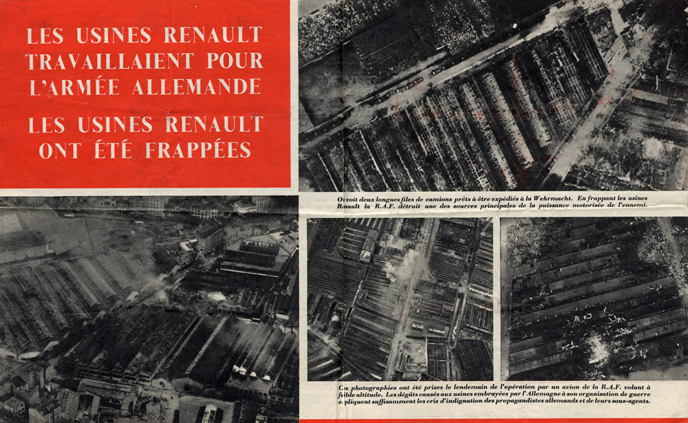 Propaganda Leaflet dropped over France showing the results of RAF bombing against the Renault factory near Paris