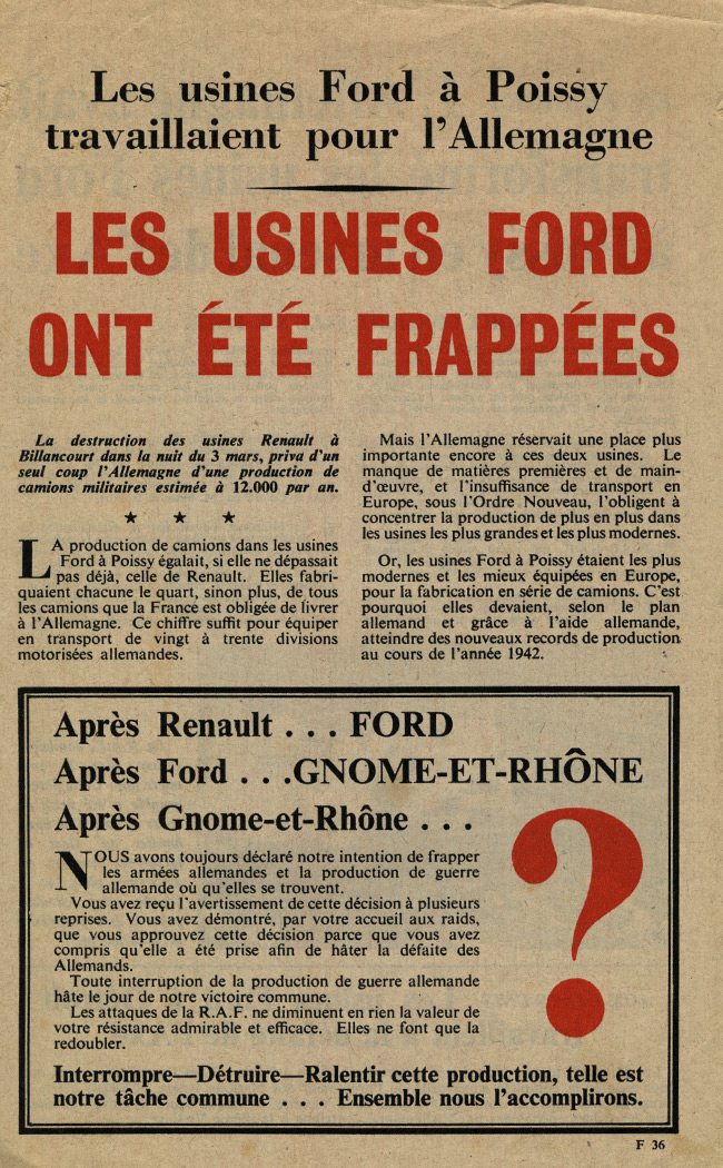 Random PSYOP leaflet - The Ford works at Poissy were working for Germany. The Ford works have been hit