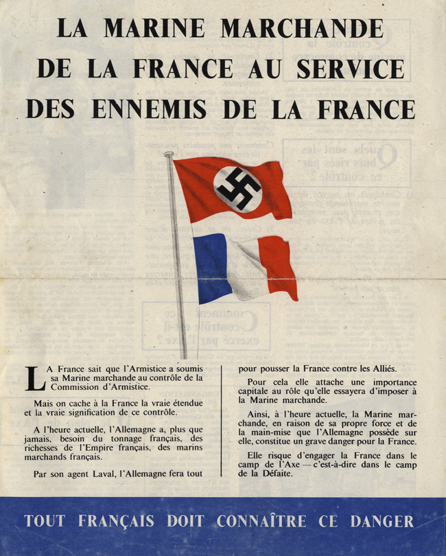 Random PSYOP leaflet - THE MERCHANT MARINE FRANCE IN THE SERVICE OF FRANCE'S ENEMIES