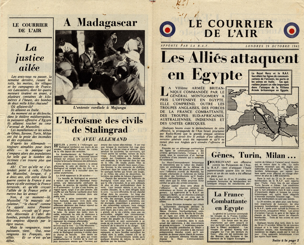 Random PSYOP leaflet - Le Courrier de l'Air, 29 October 1942