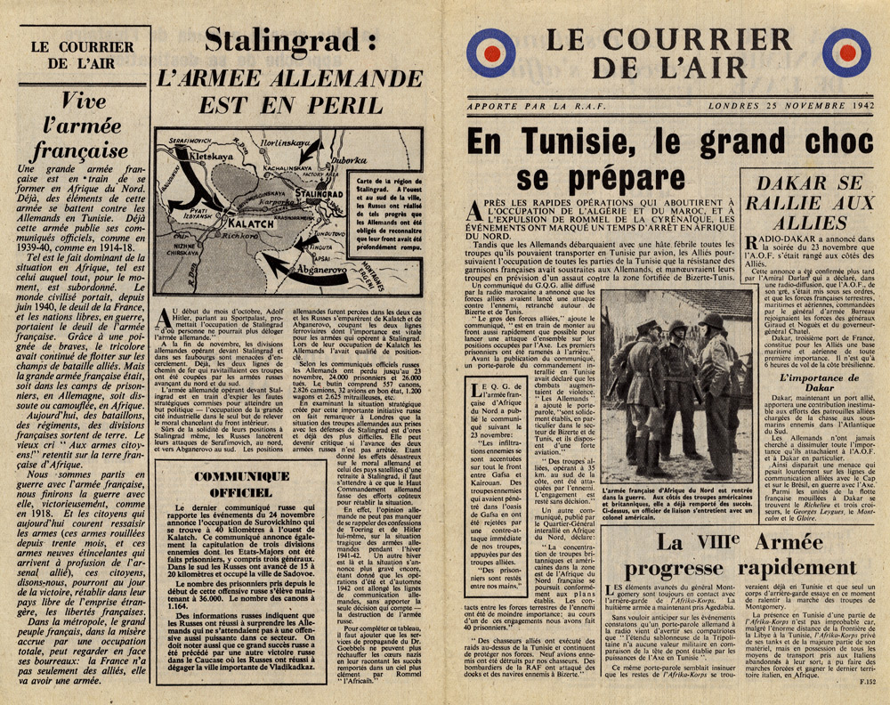 Random PSYOP leaflet - Le Courrier de l'Air, 25 November 1942