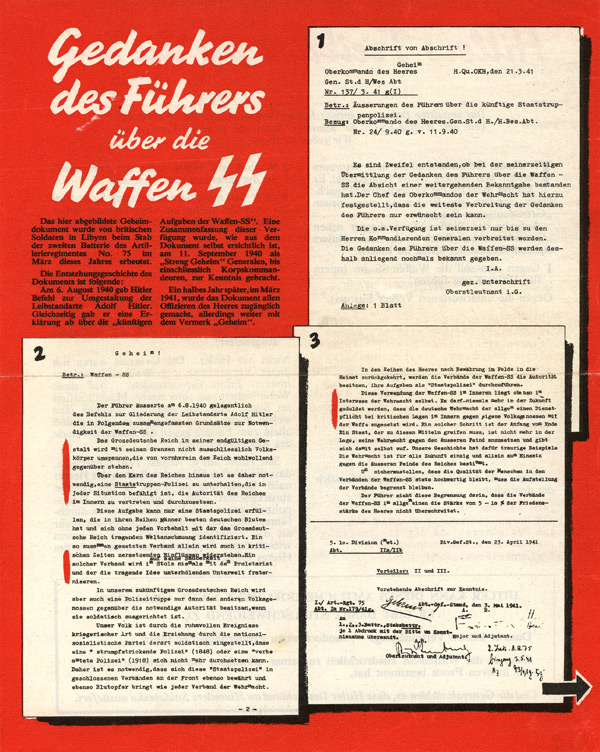 Random PSYOP leaflet - The Führer's thoughts over the Waffen-SS