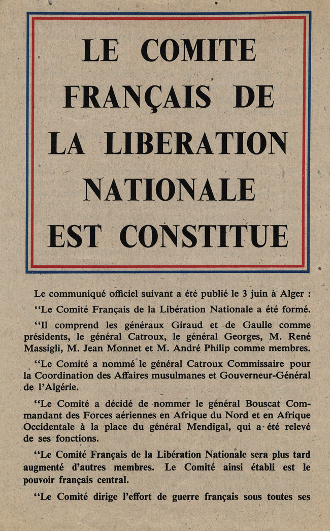 Random PSYOP leaflet - The French Committee of National Liberation is formed at Algiers
