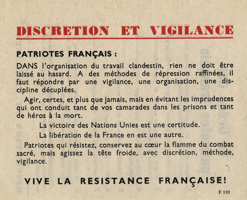 Random PSYOP leaflet - Discretion and Vigilance / The credo of French patriots