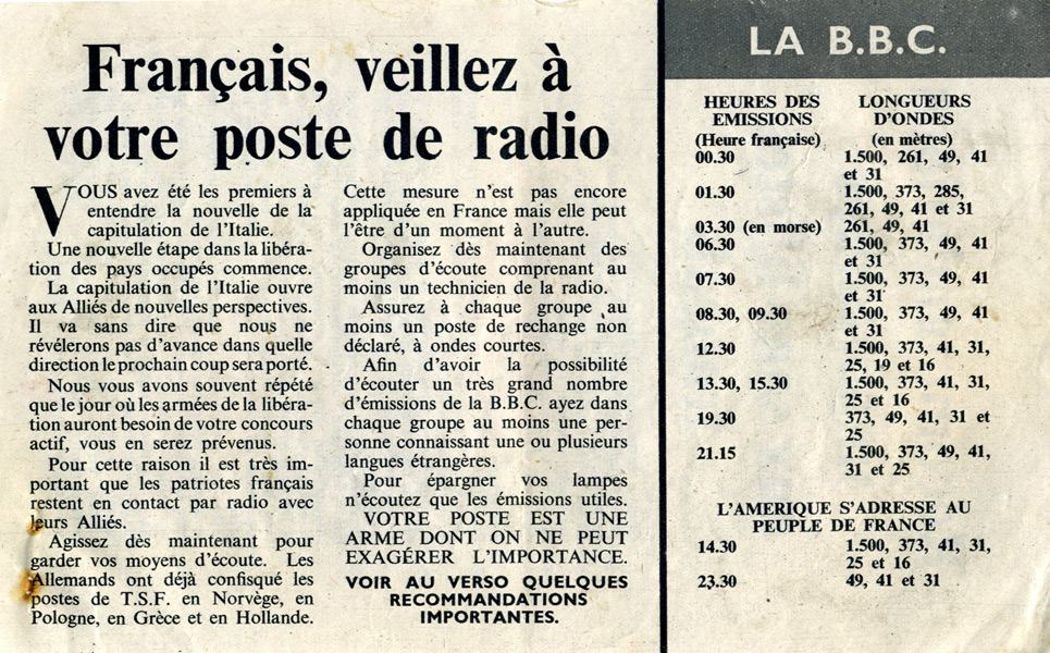 Random PSYOP leaflet - Frenchman, look after your radios, No.3