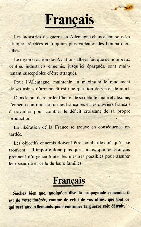Random PSYOP leaflet - Frenchmen / URGENT AND IMPORTANT