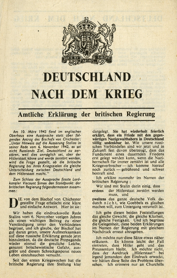 Random PSYOP leaflet - Germany After the War