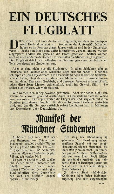 PsyWar Leaflet Archive - G 39, Ein deutsches Flugblatt