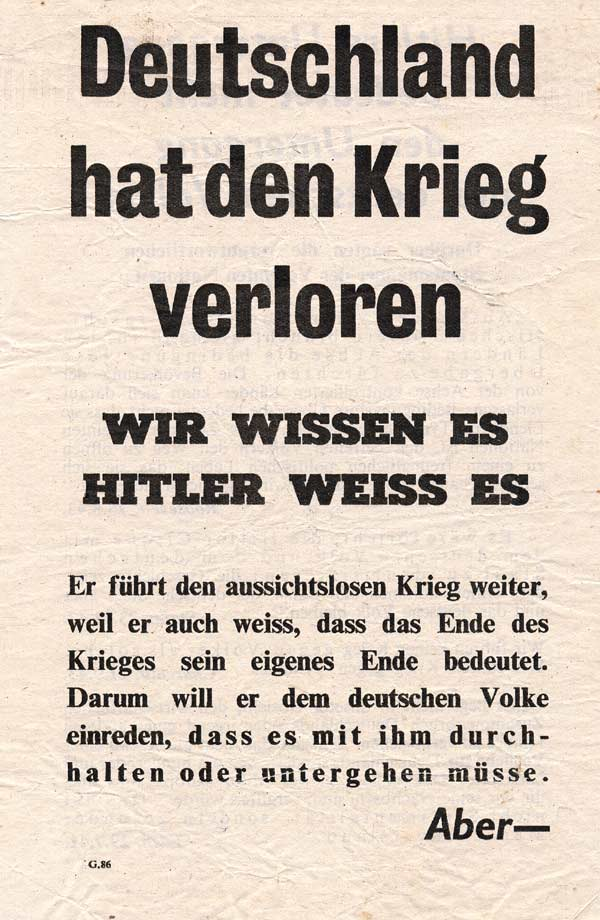 Random PSYOP leaflet - Germany Has Lost the War