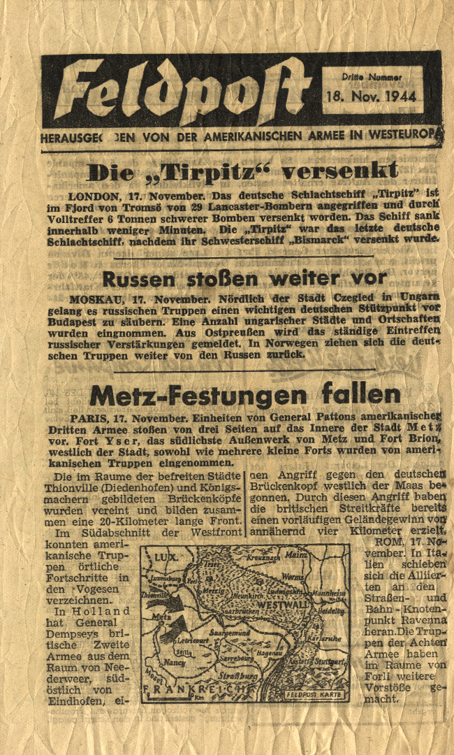 Random PSYOP leaflet - Field Post, Third Edition, 18 Nov 1944 - The Tirpitz Sunk