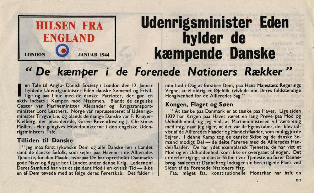 Random PSYOP leaflet - GREETINGS FROM ENGLAND, London January 1944 - Mr. Eden's tribute