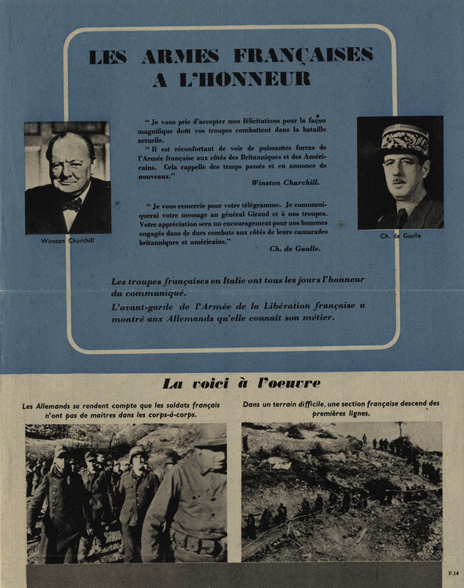 Random PSYOP leaflet - French Arms honoured