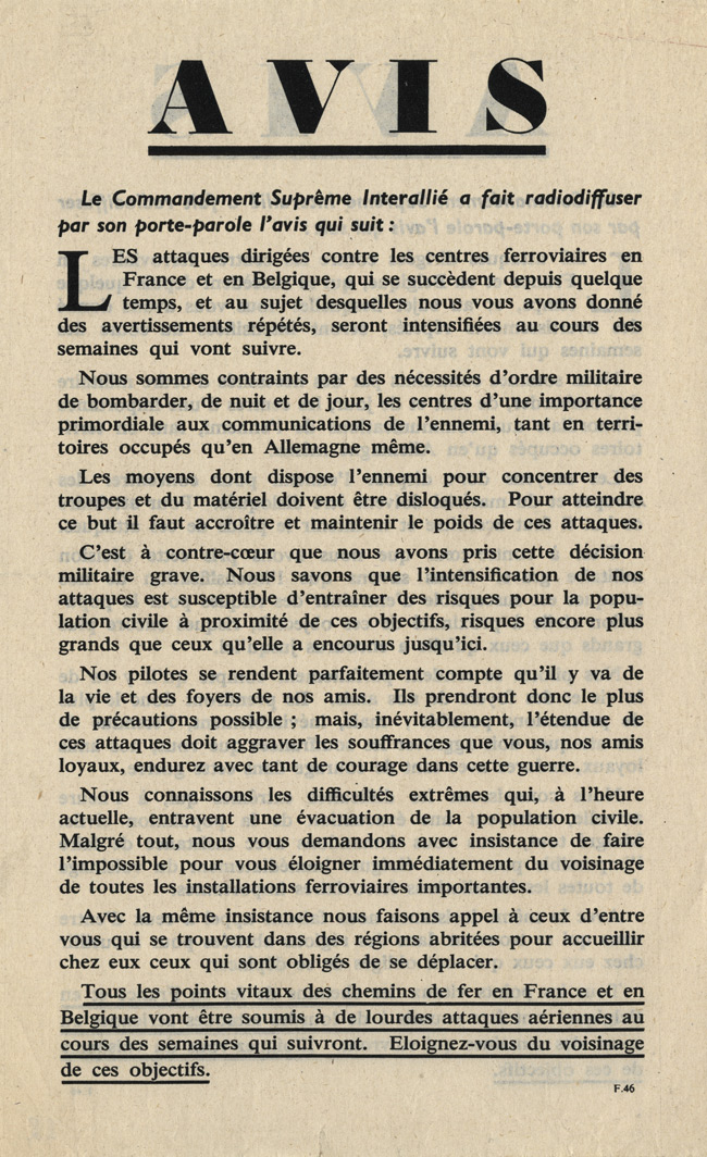 Random PSYOP leaflet - Avis. The spokesman of the Supreme Interallied Command…