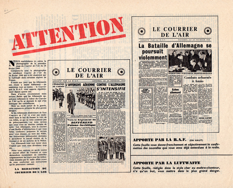 Propaganda Leaflet showing a German fake edition of Le Courrier de l'Air next to an original RAF-dropped issue