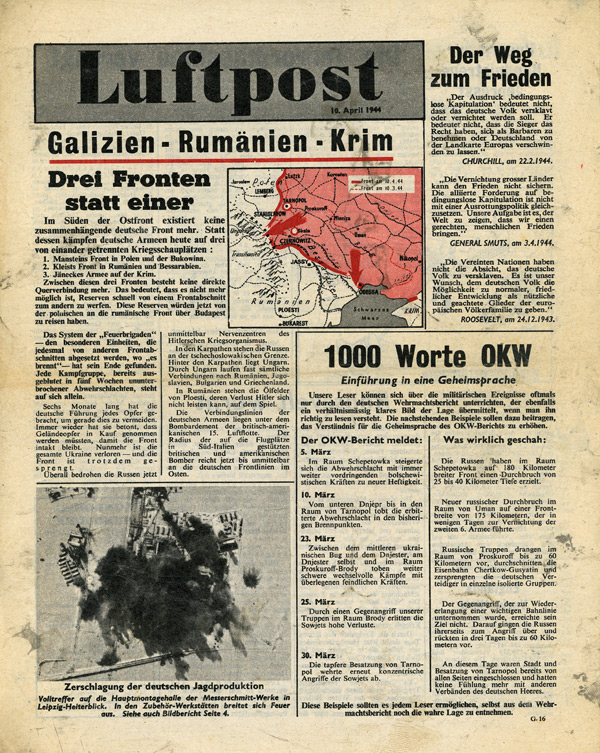 Random PSYOP leaflet - Luftpost, 10 April 1944, Three Fronts Instead of One
