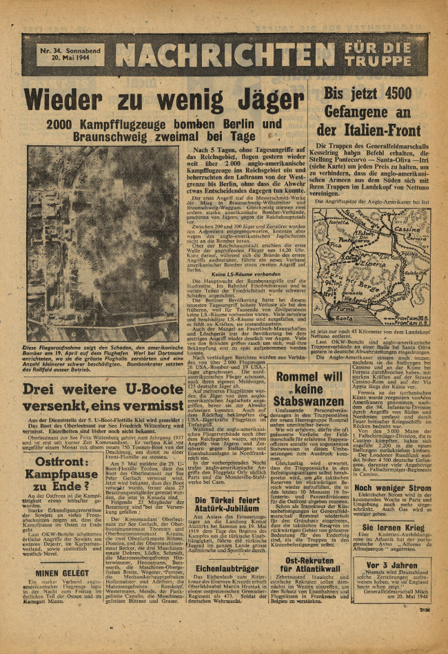 Random PSYOP leaflet - News for the Troops, No. 34, 20 May 1944