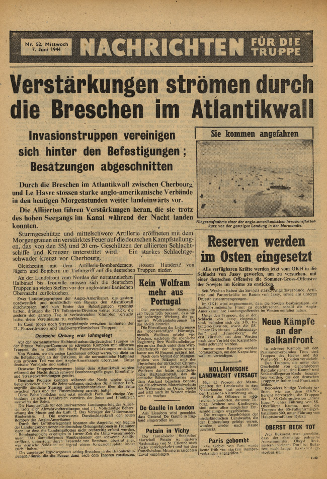 Random PSYOP leaflet - News for the Troops, No. 52, 7 June 1945