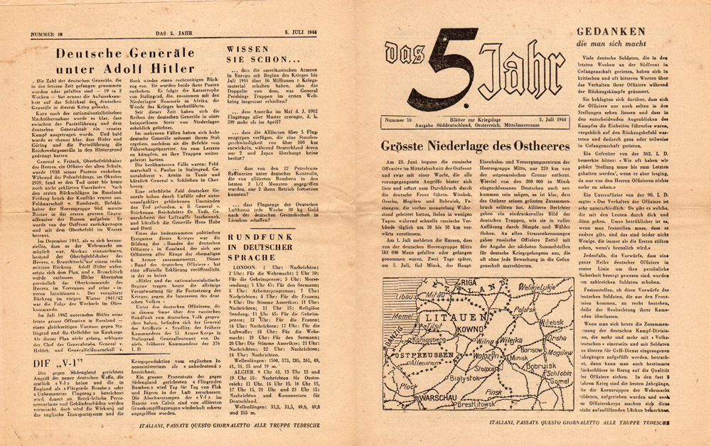 Random PSYOP leaflet - The 5th Year, No. 10, 5 July 1944 - Greatest Defeat of the East Army