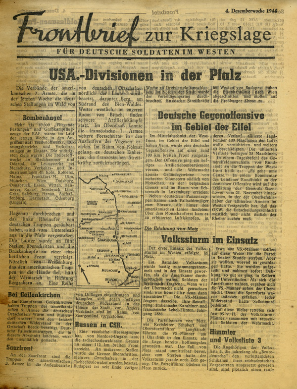 Random PSYOP leaflet - Frontline News-Letter for German Soldiers in the West, 4th week of December 1944 - USA Divisions in the Palatinate