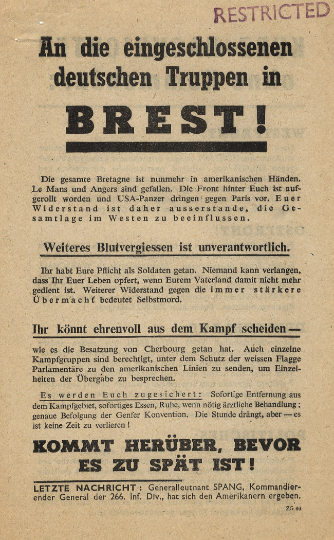 Random PSYOP leaflet - To the German Troops Surrounded at Brest!