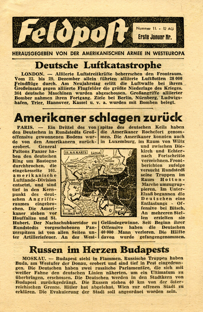 Random PSYOP leaflet - Field Post, Number 11, First January Edition 1945 - German Air Catastrophe