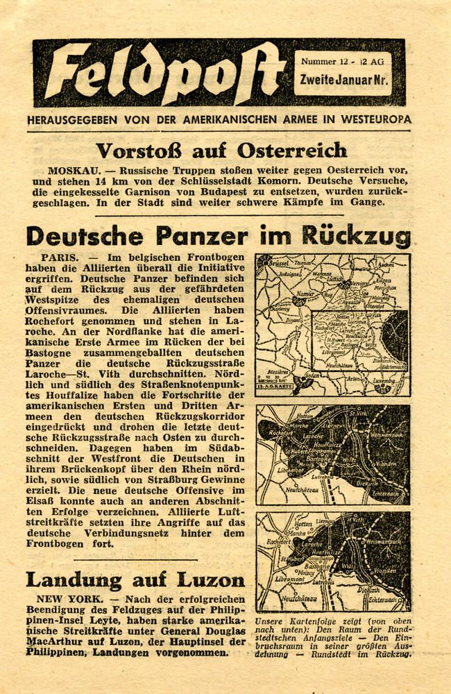Random PSYOP leaflet - Field Post, Number 12, Second Janary Edition 1945 - Advance on Austria