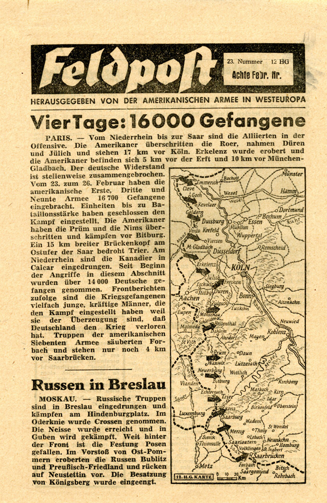 Random PSYOP leaflet - Field Post, Number 23, Eighth Feb. Edition 1945 - Four Days: 16,000 Prisoners of War