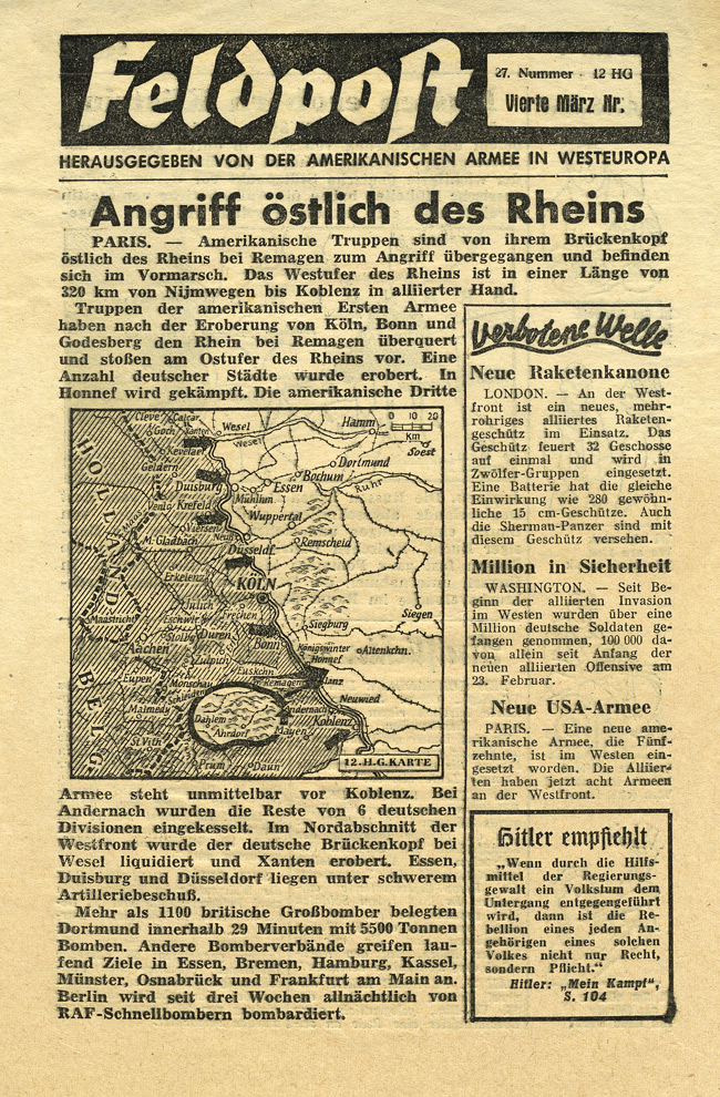 Random PSYOP leaflet - Field Post, Number 27, Fourth March Edition 1945